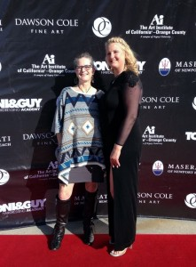 Renee and me on the red carpet during Orange County Fashion Week, 16 March 2016