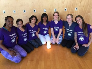 My YogaWorks class. From left to right: Kolesta, Parul, Shanta, Michelle (our teacher), Kate, me, and Courtney. We're wearing t-shirts I designed.